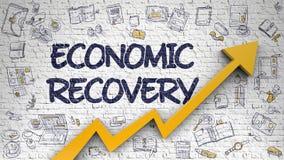 Ekonomisk återhämtning som dras på den vita tegelstenväggen Royaltyfria Bilder