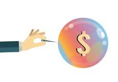 ekonomisk bubbla padlocken för arbetsuppgiften för dollaren för krisen för begreppet för bakgrundsbillsmynt spridde den finansiel Royaltyfria Bilder