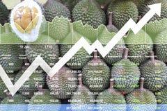 Ekonomisk finansiell tillväxt för materielindex på asiatiska frukter Arkivfoto