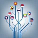 Ekonomisk gemenskap för ASEAN, AEC-affärsforum, närvarande malltitelradbakgrund, illustrationvektor i plan trädsymbolsdesign Royaltyfri Foto