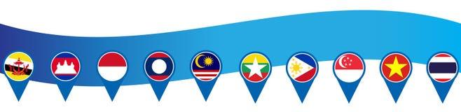 Ekonomisk gemenskap för ASEAN, AEC-affärsforum, for för malltitelrad för design närvarande bakgrund in Royaltyfria Bilder