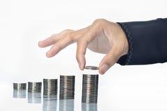 Ekonomisk grafisk tillväxt för mynt Fotografering för Bildbyråer