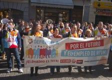 Ekonomisk protest i Madrid, Spanien Fotografering för Bildbyråer
