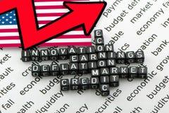 Ekonomiska indikatorer för USA Arkivfoton