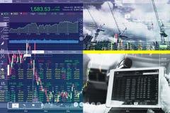 Ekonomiska problem och affärskris med grafen Arkivbild