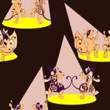 Ekorren musen, vombat, tatuerade dans med maracas Arkivfoto