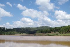 Ekosystem, środowisko, zielona łąka obok jeziora z niebieskim niebem i chmury część 6 i, obraz royalty free