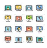 Ekranów Komputerowych symbole z znaka kolorem Cienieją Kreskowego ikona set wektor Fotografia Royalty Free