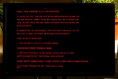 Ekran komputerowy monitor infekuje z wirusowym Petya A zdjęcie royalty free