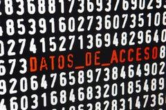 Ekran komputerowy z Datos De Acceso tekstem na czarnym tle fotografia stock