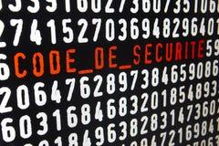 Ekran komputerowy z kodu De Securite liczbami i tekstem ilustracji