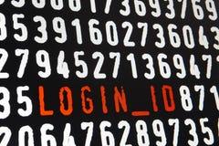Ekran komputerowy z nazwy użytkownika id tekstem na czarnym tle Obrazy Stock