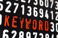 Ekran komputerowy z słowo kluczowe tekstem na czarnym tle obrazy royalty free