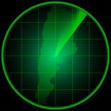 Ekran radaru z sylwetką Argentyna Zdjęcia Stock