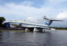 ` Ekranoplan aerotransportado del aguilucho del ` del proyecto 904 en el depósito de Khimki en Moscú fotografía de archivo