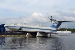 ` Ekranoplan aerotransportado del aguilucho del ` del proyecto 904 en el depósito de Khimki en Moscú imágenes de archivo libres de regalías