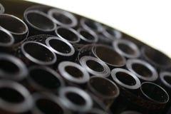 Ekranowi archiwum negatywy w round metal puszce obraz royalty free