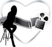 ekranowi przedmioty silhouette siedzącej kobiety Zdjęcie Stock