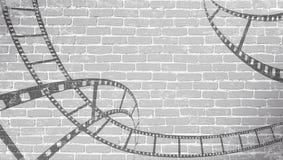 Ekranowy pasek na popielatej ścianie z cegieł Tło w filmowym stylu na ścianie z cegieł Stary kinowy abstrakcjonistyczny tło Kinow ilustracja wektor