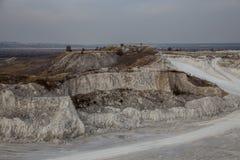 Ekskawacje w chalky łupie, Voronezh region, Rosja Zdjęcie Royalty Free