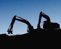 Ekskawatorów ładowacze, ciągniki i pracownicy kopie przy przemysłowej budowy tła wektorową ilustracją, ilustracja wektor