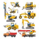 Ekskawator dla budowy wektorowej czerparki wykopuje z przemysłem buldożeru lub łopaty i ekskawaci maszynerii ilustracji