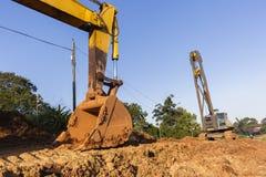 Ekskawatoru kosza olinowania budowy Dźwigowe maszyny Obraz Royalty Free