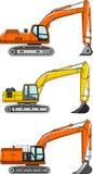 ekskawatory Ciężkiej budowy maszyny wektor royalty ilustracja