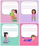 Ekslibris Ten książka Należy i Czytający dzieciaka ilustracja wektor