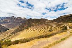 Ekspansywny widok inka tarasuje w Pisac, Święta dolina, Peru Obrazy Stock