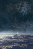 Eksploraci przestrzeni kosmicznej nocnego nieba i ziemi tło Zdjęcia Stock