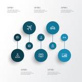 Eksploracja konturu ikony Ustawiać Kolekcja samolot, mapy szpilka, ziemia I Inni elementy, Także Zawiera symbole Tak jak taksówka Zdjęcia Royalty Free