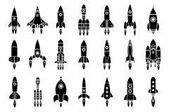 Eksploracja przestrzeni kosmicznej kosmosu statku kosmicznego wahadłowa wodowanie sylwetki projekta rakietowe ikony ustawiają wek royalty ilustracja