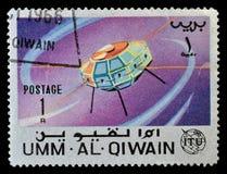 Eksploracja przestrzeni kosmicznej na znaczkach pocztowych zdjęcie royalty free