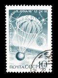 Eksploracja przestrzeni kosmicznej na znaczkach pocztowych fotografia stock