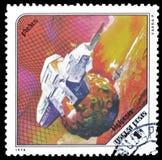 Eksploracja przestrzeni kosmicznej na znaczkach pocztowych obrazy stock