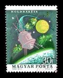Eksploracja przestrzeni kosmicznej na znaczkach pocztowych zdjęcie stock