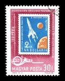 Eksploracja przestrzeni kosmicznej na znaczkach pocztowych fotografia royalty free