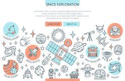 Eksploracja Przestrzeni Kosmicznej sztandar royalty ilustracja