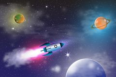 Eksploracja przestrzeni kosmicznej z retro rakietą planetuje, gra główna rolę na ciemnym tle z promieniami i migocze wektorową il ilustracji