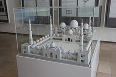 Eksponat szalkowy model Sheikh Zayed Uroczysty meczet w Islamskiej sztuce Musium fotografia stock