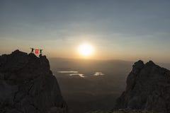 Eksponat turecka flaga przy szczytem Obraz Royalty Free