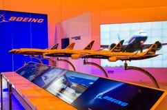 Eksponuje nowych modelów Boeing samolot 737, 747, 787, 777 Rosja, Moskwa w Sierpień 2015 Zdjęcie Stock