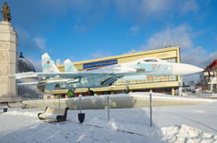 Eksponuje samolot SU-27 przy VDNKH, Moskwa, Rosja Zdjęcia Royalty Free