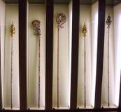 Ekspozycja księdza ` obsdza personelem w muzeum katedrę Gocka katedra Girona Błogosławiony maryja dziewica obrazy stock