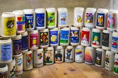 Ekspozycje przy muzeum Oktoberfest festiwal napadać na kogoś, butelkują, historię świętowanie zdjęcia stock