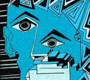 Ekspresyjna błękitna twarz z podbitymi oczami i geometrycznymi szczegółami ilustracji