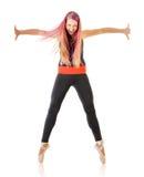 Ekspresyjna młoda dancingowa kobieta Obrazy Stock