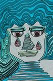 Ekspresyjna p?acz twarz Błękitów kolory i światło - menchii oczy Geometryczni szczeg??y ilustracji