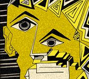 Ekspresyjna twarz z podbitymi oczami i geometrycznymi szczegółami ilustracja wektor